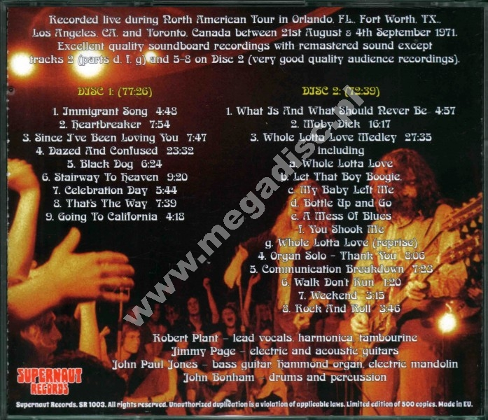 LED ZEPPELIN - North American Tour 1971 (2CD) - EU RARE LIMITED